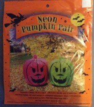 Two Halloween Neon Pink and Green Jack-o-lantern Leaf Lawn Bags - $3.99