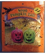Two Halloween Neon Pink and Green Jack-o-lanter... - $3.99