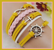 Yellow White Pink Infinity Symbol Anchor Ships Wheel Multi Layered Wrap ... - $5.85