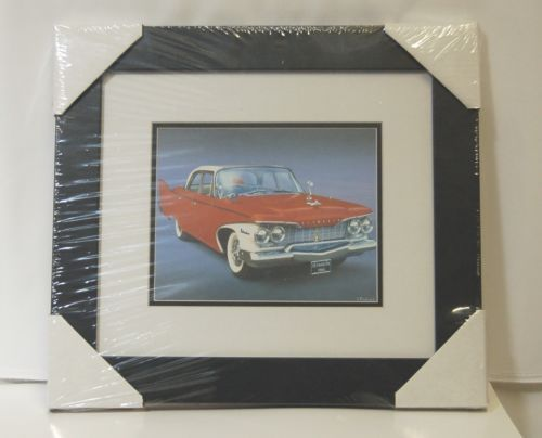 Made On Earth 6716 1960 Red Plymouth Belvedere Matted Framed Serial  3624520