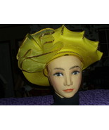 Heavenly Bright YELLOW FASCINATOR HAT Gold Bead w/stitching Trim Church ... - $49.97