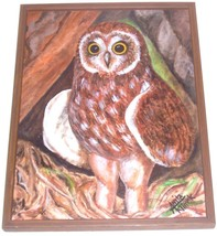 ORIGINAL SIGNED OWL FRAMED ART PAINTING ANITA KLIMEK - $484.14