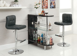 Black 2 Shelf Bar Table Furniture Decor Wine Living Pub Game Stemware St... - $225.99