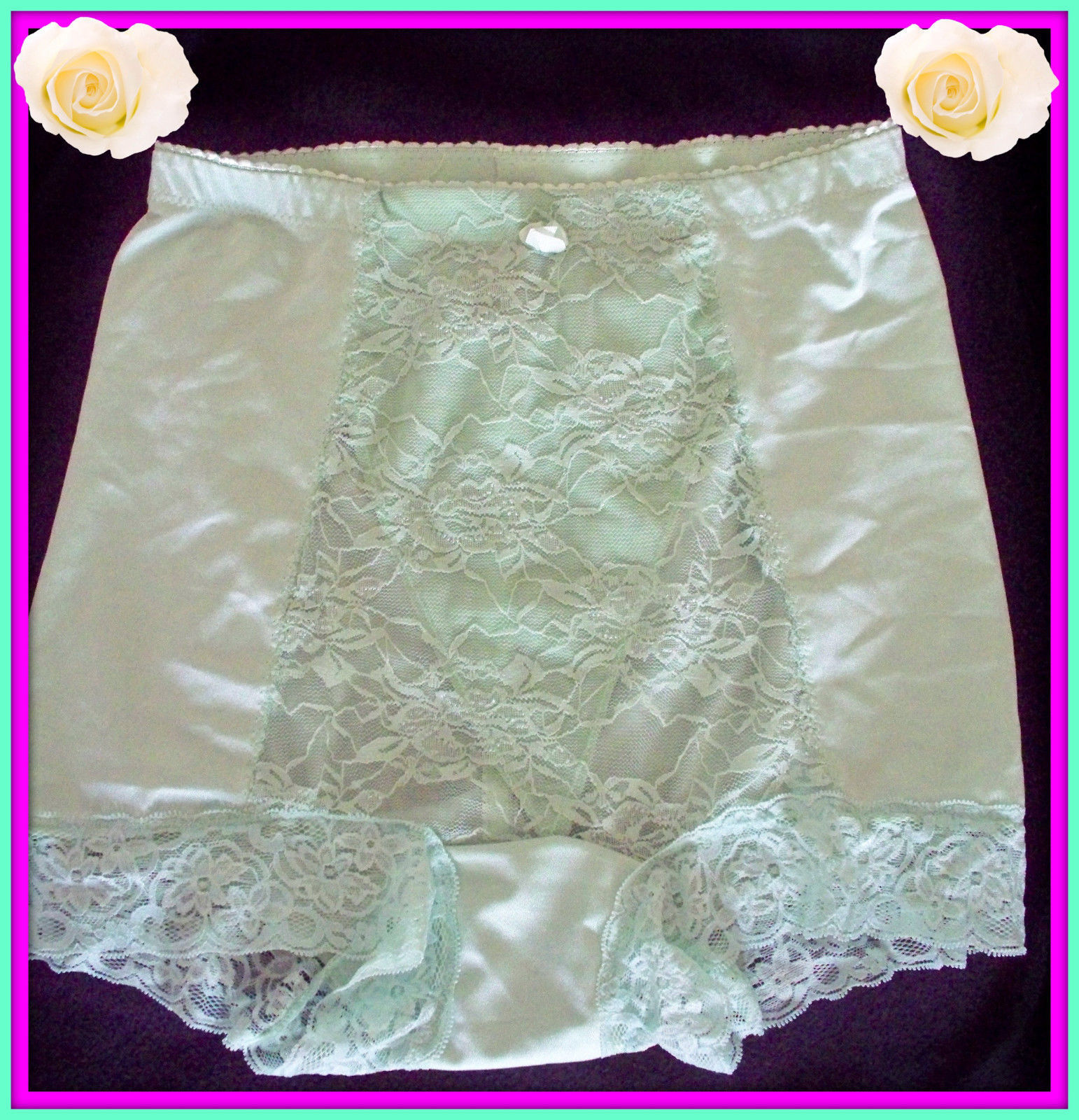 Primary image for NEW M Medium RHONDA SHEAR GREEN LACE Control Brief PANTIES Boyshort Brighten Day