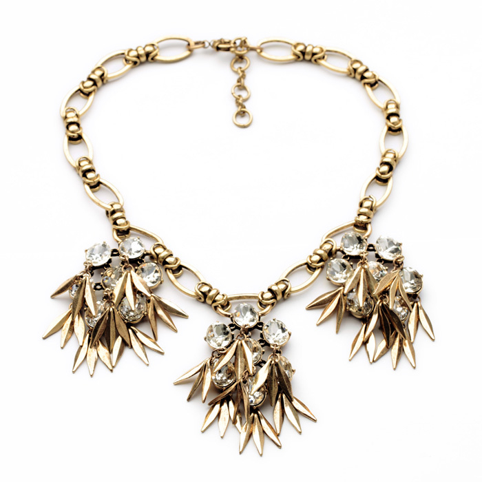 Rendy jewelry female party accessories new gold color chain crystal flower leaf dress necklace 3