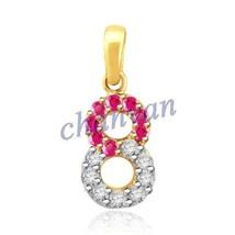 Number Pendant !0.24 Ctw Natural  Diamond Hallmark 14K Gold  Ruby Circle... - $503.00