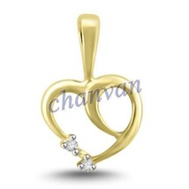 Heart Look !! Unique 0.06 Ctw Natural  Diamond Hallmark 14K Yellow Gold ... - $492.00