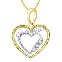 Pretty Heart ! 0.10 Ctw Natural  Diamond Hallmark 14K Yellow/White Gold ... - $502.00