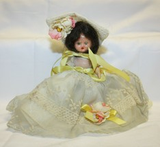 """Vintage Sleepy Eye Doll – Ivory Dress w/ Yellow Trim Stands about 7.5"""" tall - $19.79"""