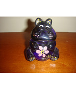 Fenton Hand Painted Hippo Violet-Lavender With Bright Pink Flower - $34.99