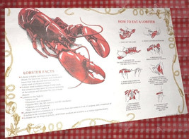 Lobster Placemats How to Eat Directions disposable paper place mats - $6.95