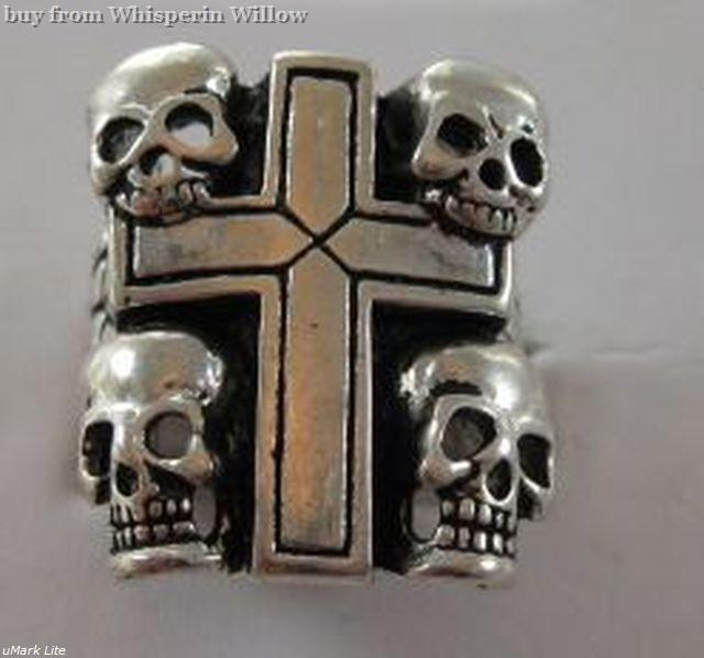 Biker ring with cross and skulls 1
