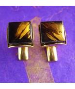 Elegant Gold Foil Cufflinks Vintage Abstract Tile Designed Unisex Decorative Cuf - £47.71 GBP