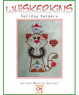Holiday Helpers Whiskerins cat cross stitch chart CM Designs - $7.65