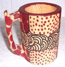 Original Mombasa, Kenya Handcrafted Giraffe Print Wood Animal Mug Akamba... - $53.05