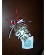 Prosperity Tree Farms Pure SILVER PINE CONE Christmas Ornament Real Cone - $15.00
