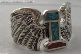 Sterling Silver Winged Number 1 Biker Silver Motorcycle Ring W/ Inlaid Stone 12 - $19.95