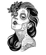 Tattoo sugar skull day of the dead cross stitch pattern thumbtall