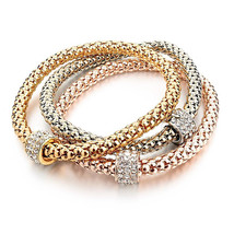 Long Way 3pcs Gold Silver Plated Charm Bracelet for Women Luxury Multilayer - $28.90