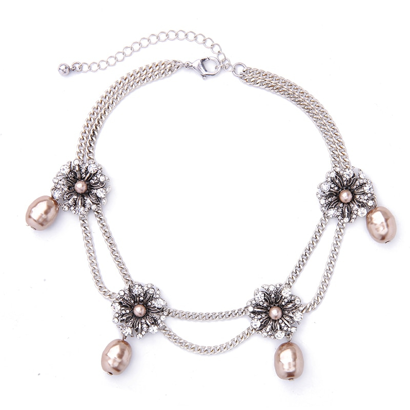 Simulated Pearls Choker Necklace Silver Color Double Chains Necklace Jewelry