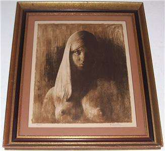 Original & Rare Hand signed & numbered Paul Ravelle Nude Woman Litho Art Print