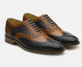 Handmade Men's Leather Wing Tip Brogue Style Oxford Leather Shoes image 2