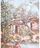 Original & Signed Ludovic J. Simpson  Haitian Art Village Scene Painting... - $770.99