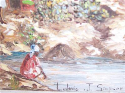 Original & Signed Ludovic J. Simpson  Haitian Art Village Scene Painting Haiti