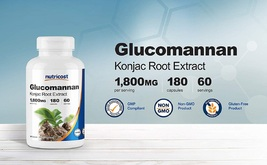 Nutricost Glucomannan 1,800mg Per Serving, 180 Capsules - $57.63