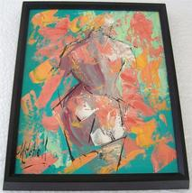 Original & Signed nude abstract rich textured painting on board by Mitchell - $1,558.99