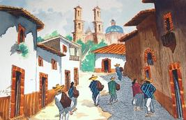 Original & signed RUIZ Latino south american village watercolor art - $269.99