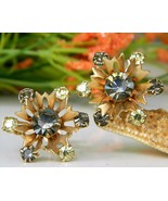 Vintage snowflake flower earrings rhinestone screw back thumbtall