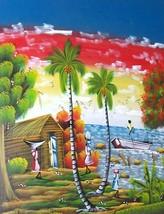 Original & signed Rolinson caribbean haitian scenic village landscape pa... - $770.05