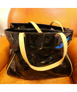 "Vintage Patent leather Bag w Piping 16"" x 11"" x 5"" zipper pocket closure... - $29.69"