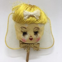 Vintage 1950's Christmas Angel Face Head Stockinette Mesh Gauze Wings Ha... - $6.79