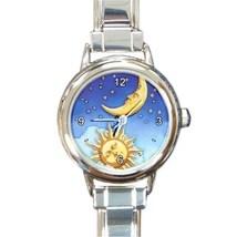 Ladies Round Italian Charm Watch Sun Moon Stars Universe Gift model 3017... - $11.99