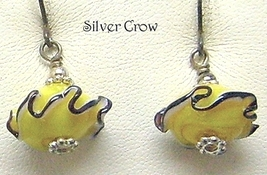 Yellow Black Ruffled Lamp Work Earrings - $9.99