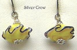 Yellow Black Ruffled Lamp Work Earrings - $9.99