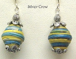 Yellow & Aqua Paper Bead Earrings - $12.99