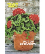 Pillow Patch Pot of Geraniums Crochet Pattern~Annie's~NEW~1982 - $8.99