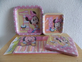 Disney Baby Minnie 1yr old Plates, Napkins & Tablecloth  - $15.00