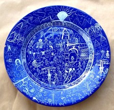 PERUVIAN FOLK ART CLAY HANDPAINTED POTTERY WALL PLATE - $191.64