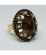 Vintage Brown Rhinestone Pearl Ornate Cocktail Ring Adjustable - $18.00