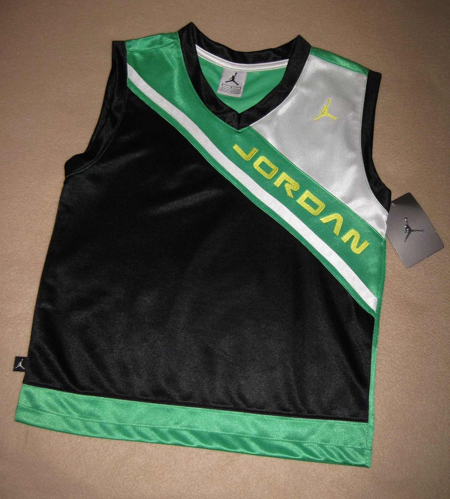 Nike   micheal jordan jumpman 23 black green white basketball jersey  1