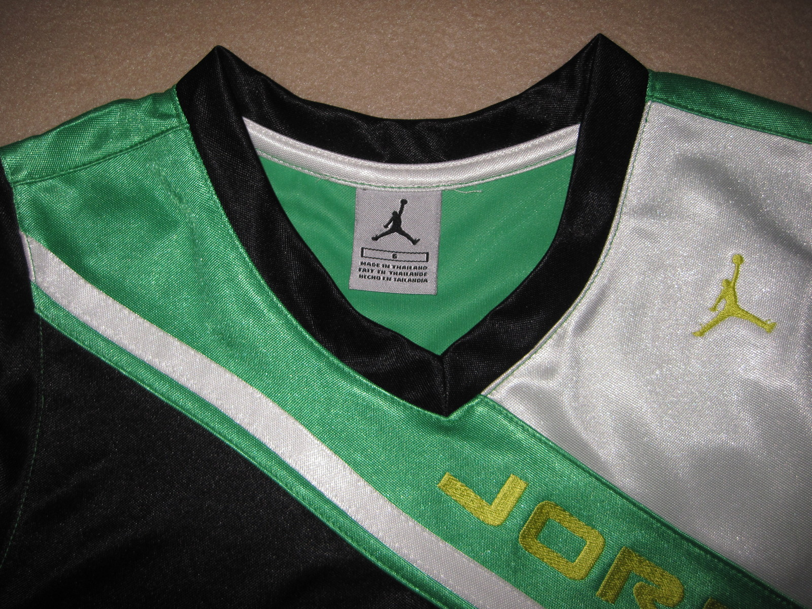 BOYS 7 - Nike - Micheal Jordan Jumpman 23 Black-Green-White BASKETBALL JERSEY
