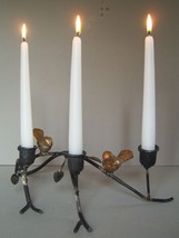 Rustic Wrought Iron 3 Arm Candle Holder Birds On A Branch -Cabin / Country Decor - $19.99