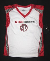 BOYS 6 - Nike Hoops - White-Red-Gray BASKETBALL SPORTS JERSEY image 2