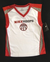 BOYS 6 - Nike Hoops - White-Red-Gray BASKETBALL SPORTS JERSEY image 4