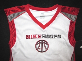 BOYS 6 - Nike Hoops - White-Red-Gray BASKETBALL SPORTS JERSEY image 6