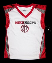 BOYS 6 - Nike Hoops - White-Red-Gray BASKETBALL SPORTS JERSEY image 8